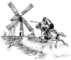 Don Quijote charges the windmill